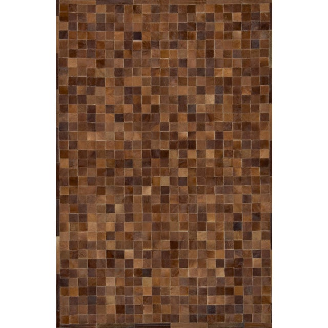 Art Deco Handmade Brown Cowhide Patchwork Area Rug - 6′7″ × 8′ For Sale - Image 3 of 3
