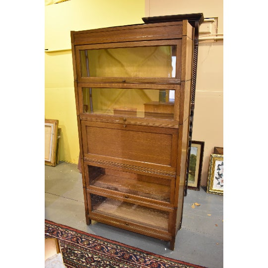 Mission Signed Antique Craftsman Mission Oak 5 Stack Barrister or Lawyer's Bookcase With Desk-Gunn For Sale - Image 3 of 11
