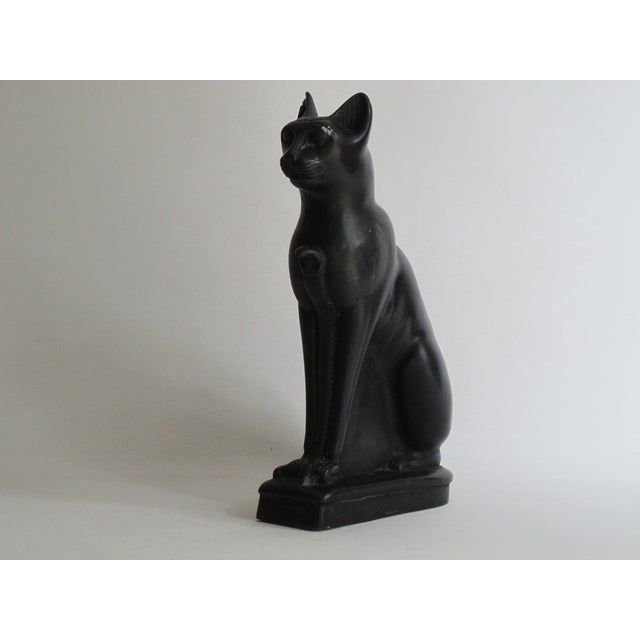 Egyptian Black Cat Carved Stone Sculpture - Image 3 of 10