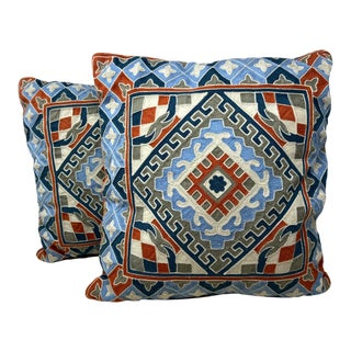 Vintage Kilim Tribal Pattern Crewel Geometric Tribal Pattern Decorative Pillows – a Pair For Sale