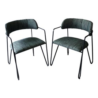 Outdoor Iron Hairpin Arm Chairs - A Pair