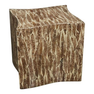 """1990s Contemporary Freeform """"Wave"""" Side Table With Natural Fiber Inlay For Sale"""