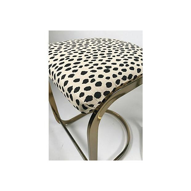 Gold Milo Baughman Style Brass Cantilever Stools - A Pair For Sale - Image 8 of 10