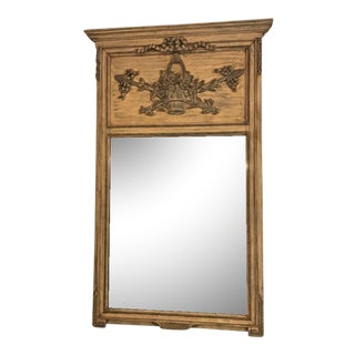 French Trumeau Mirror Paint Decorated For Sale