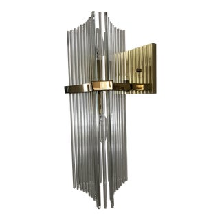 Sciolari for Lightolier Brass and Glass Rod Reed Sconces - a Pair