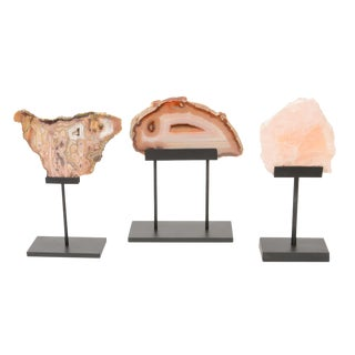1950s Vintage Rose Quartz & Agate Raw Stone Sculptures - Set of 3 For Sale