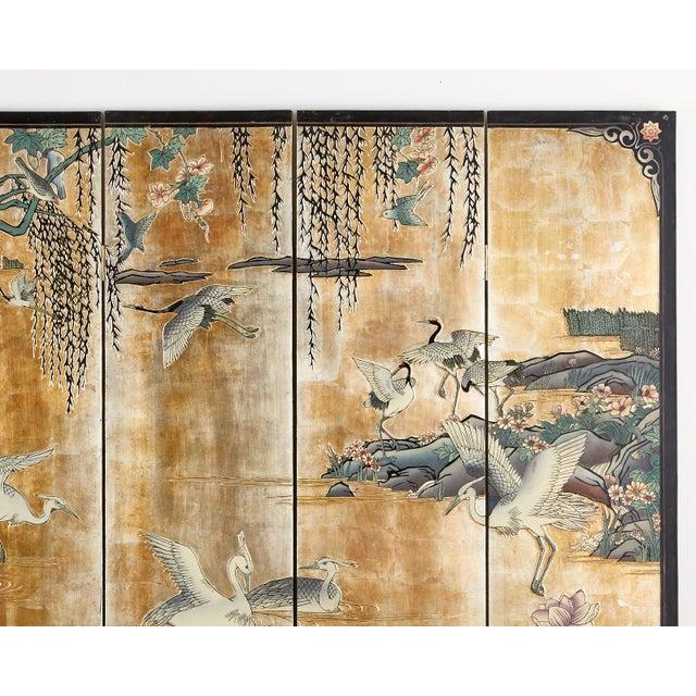 Chinese Export Gilt Coromandel Screen Crane Landscape For Sale - Image 9 of 13