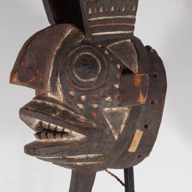 19th Century Bwa Mask Burkina Faso Mounted on Custom Black Enamel Stand For Sale - Image 9 of 11