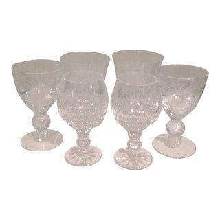 Vintage Assorted Etched Crystal Aperitif Shot Glasses - Set of 6 For Sale