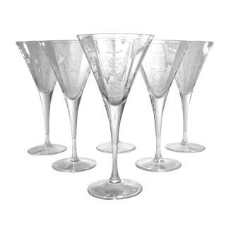 Vintage Etched Stemware Wine Glasses - Set of 6 For Sale