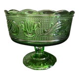 Image of 1960s Emerald Green Glass Compote/Candy Dish For Sale