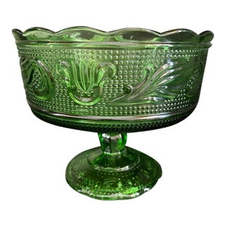 1960s Emerald Green Glass Compote/Candy Dish For Sale