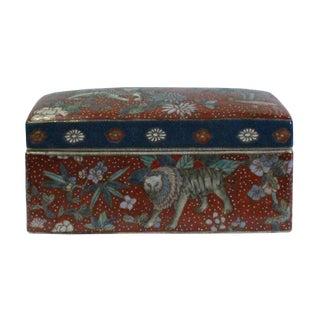 Vintage Oriental Enamel Red Porcelain Rectangular Box Container For Sale