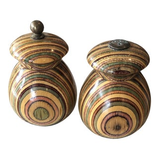 Mid Century Striped Wood Salt Shaker & Pepper Mill - Set of 2 For Sale