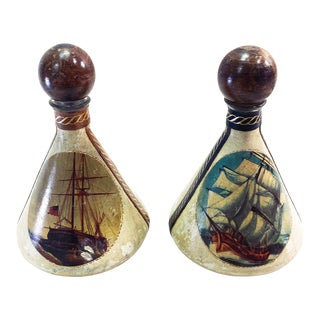Vintage 1960s Mid-Century Modern Italian Leather Wrapped Decanter Bottles Nautical Ships - a Pair For Sale