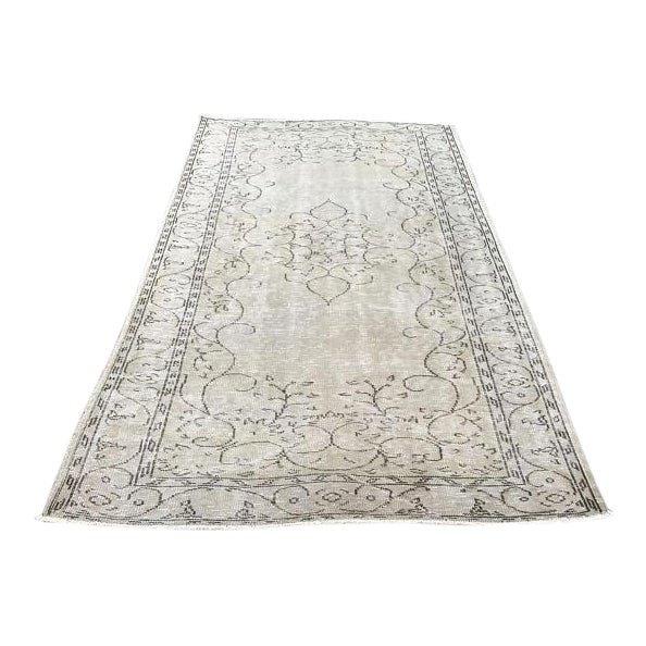 Handwoven Beige Vintage Anatolian Rug - 5′4″ × 8′7″ For Sale