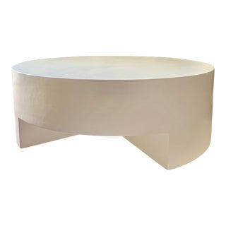 Mid-Century Modern The Reed Round Smooth Plaster Chunky Coffee Table For Sale