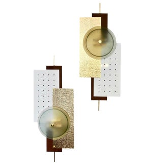 Italian Modernist Gold White & Brown Geometric Textured Metal & Glass Sconces - a Pair in Showroom For Sale