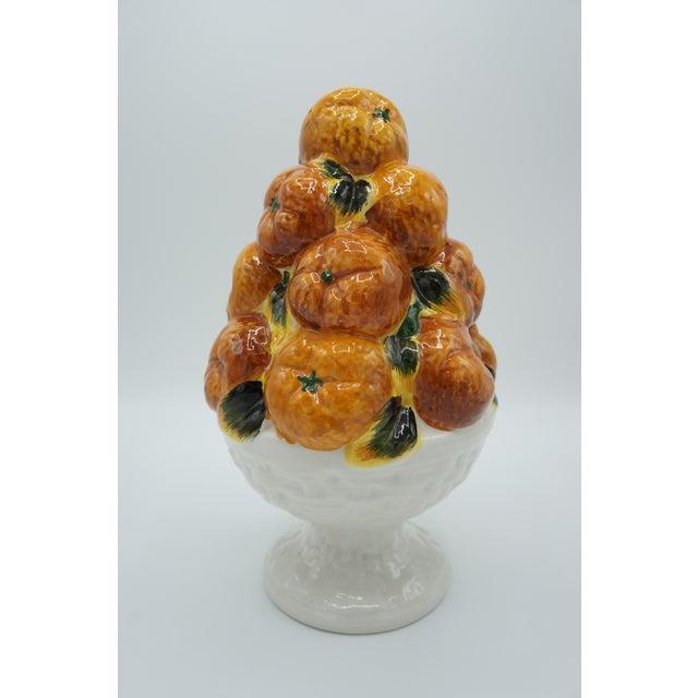 Ceramic Italian Ceramic Fruit Topiary Basket of Oranges For Sale - Image 7 of 8