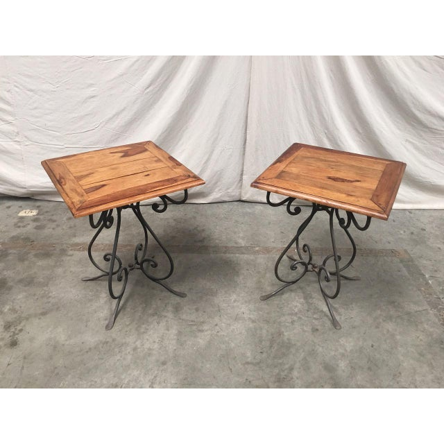 Rustic French Bistro Walnut SideTables With Iron Bases - a Pair For Sale - Image 11 of 12