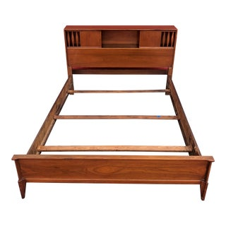 Mid Century Modern Full Size Bed Frame With Storage Headboard For Sale