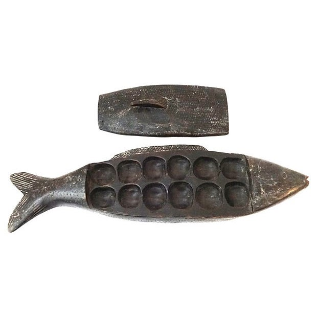 African Mancala Game in Wooden Fish For Sale - Image 5 of 6
