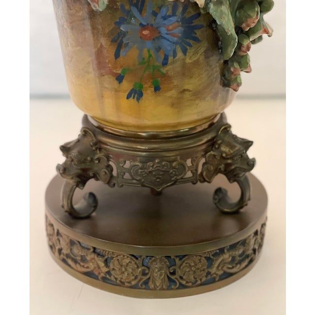 19th C. Over-Scale Lamp W/Dramatic 3-Dimensional Floral Details & Orientalist Bronze Mounts For Sale - Image 10 of 13