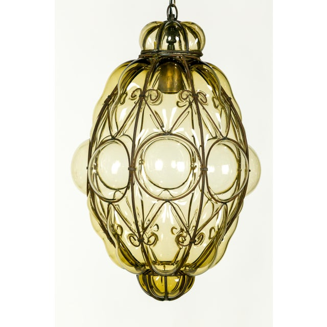 Italian Iron Wire & Blown Glass Pendant For Sale - Image 9 of 13