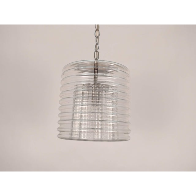 Clear Ribbed Glass Pendant For Sale - Image 4 of 9