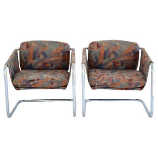 Pair of Postmodern Cantilevered Sling Form Lounge Chairs For Sale