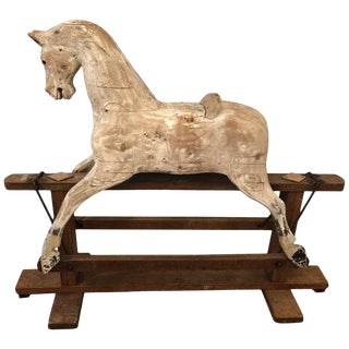 Antique Distressed Folk Art Children's Hobby Horse Toy For Sale