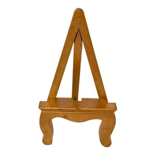 Vintage Petite Gold Wooden Easel For Sale