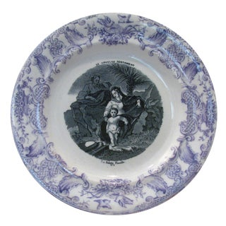 Antique French Gien Purple / Mulberry Holy Family Plate, C. 1875 For Sale