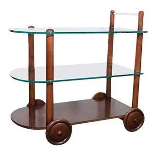 Art Deco Gilbert Rohde Bar Cart All Original Glass and Wood For Sale