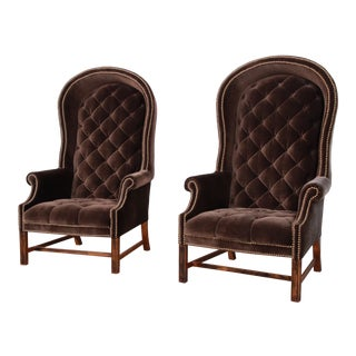 Midcentury Brown Velvet Porter's Chairs, Pair For Sale