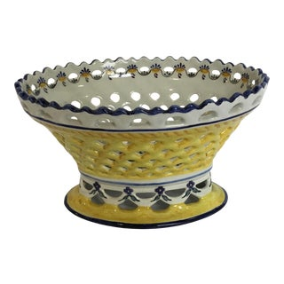 Majolica Pierced Oval Berry Basket Bowl, Portugal For Sale