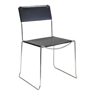 Italian Made Bauhaus Black Leather & Chrome Chair