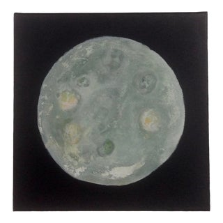Sage Green and Pale Yellow Moon Painting