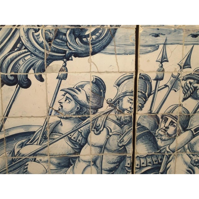 Monumental 3-Piece 18th Century Azulejo Mural Panel From Portugal For Sale - Image 12 of 13