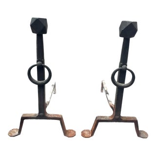 Vintage Arts & Crafts Wrought Iron Andirons - A Pair