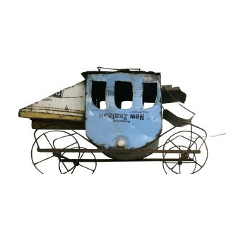 Rustic Stage Coach Repurposed Metal on Wheels For Sale