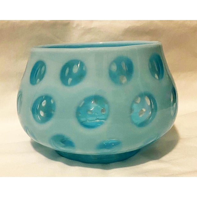 Abstract 1950s Fenton Blue Opalescent Coin Dot Bowl For Sale - Image 3 of 5