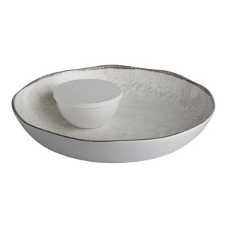 Modern Melamine White Chip & Dip Plate For Sale