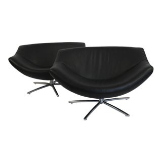 "Gerard Van Den Berg ""Gigi"" Black Leather Swivel Chair - Pair For Sale"