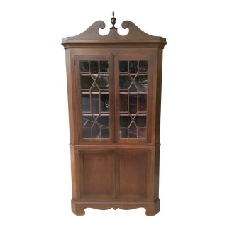 Late 20th Century Mahogany Corner Cabinet by Biggs For Sale