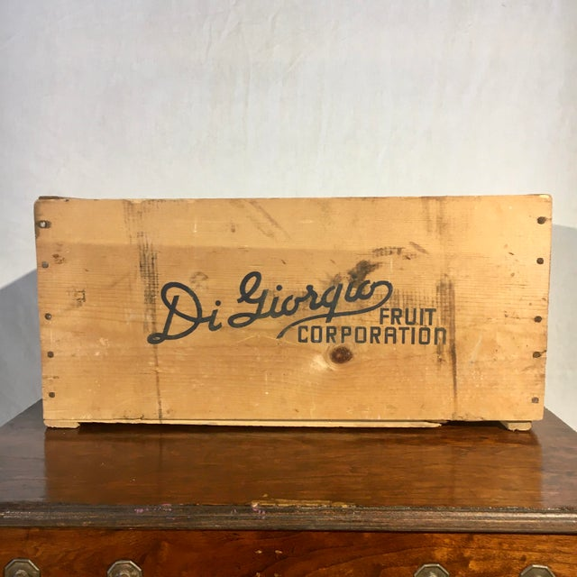 Mid-Century Modern 1950s Blue Flag Fruit Crate For Sale - Image 3 of 8