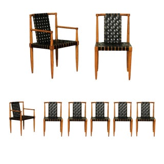 Miraculous Rare Set of 8 Leather Strap Dining Chairs by Tomlinson, Circa 1958 For Sale