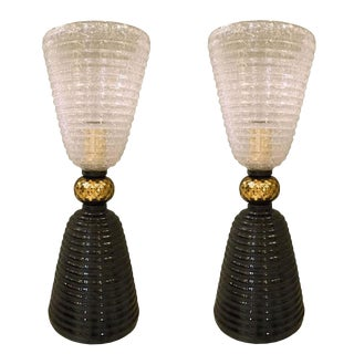 Mid-century modern Murano glass lamps - a pair For Sale