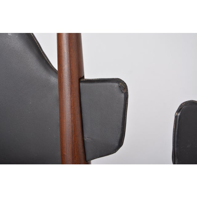 Brown Pair of 1950s Vintage Black Midcentury Chairs For Sale - Image 8 of 12