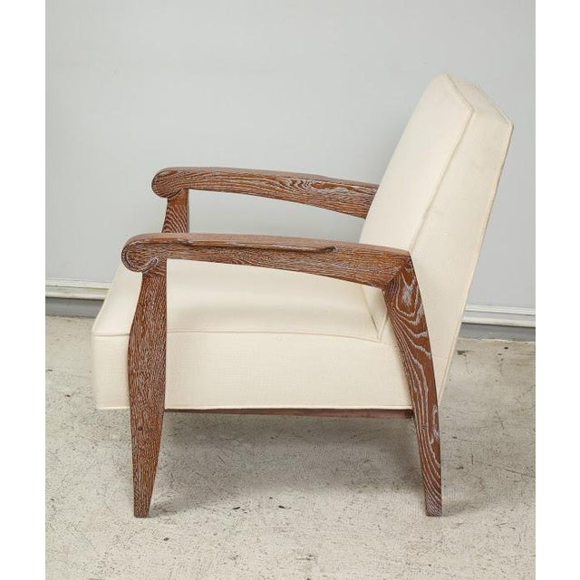 French Custom Pair of Cerused Oak Lounge Chairs in the French 40s Manner For Sale - Image 3 of 9